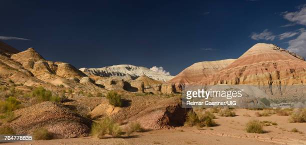 Panorama of red and white sedimentary layers at Aktau Mountains Altyn Emel Park Kazakhstan
