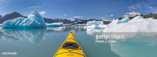 Panorama of sea kayaking Bear Glacier Lagoon