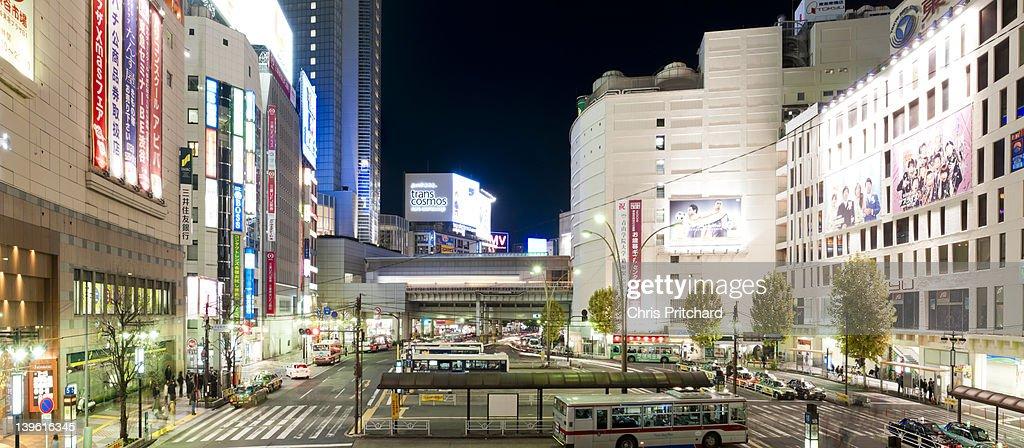 Panorama of Shibuya Station Bus Terminal at night : Stock Photo
