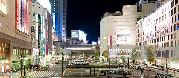 Panorama of Shibuya Station Bus Terminal at night