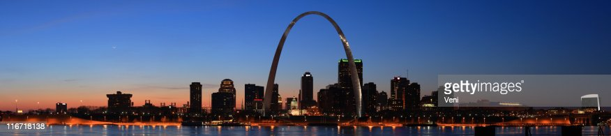 Panorama of St Louis, Missouri at night