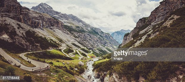 Panorama of Stelvio pass in Italy