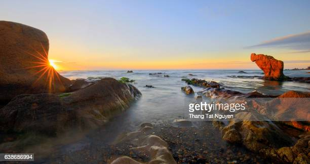 Panorama of Strange rocks in the morning at Co Thach beach, Tuy Phong, Binh Thuan province, Vietnam