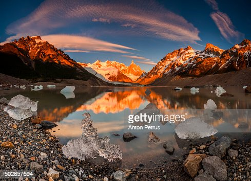 Panorama of sunrise at Cerro Torre with ice floes