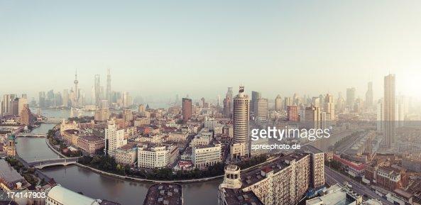 Panorama of Suzhou creek with Smog