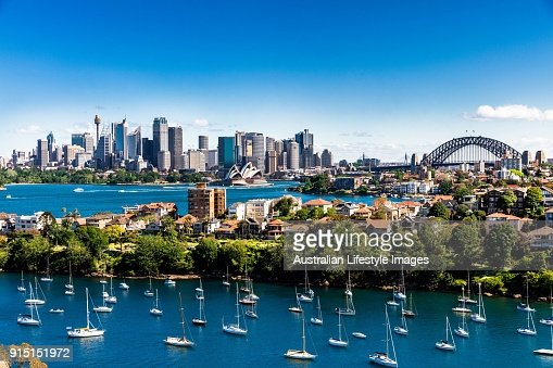 Panorama of Sydney City and Harbour on a bright clear day : Stock Photo