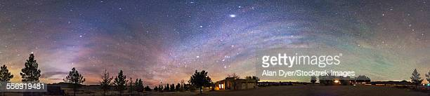 Panorama of the celestial night sky in southwest New Mexico.