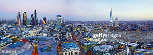 Panorama of the City of London at dusk