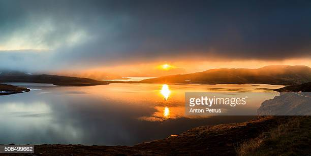 Panorama of the lake at sunset, North Cape, Norway