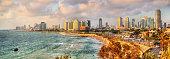 Panorama of the Mediterranean waterfront of Tel Aviv - Israel