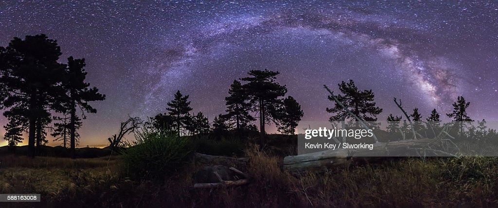 Panorama of the Milky Way galaxy over a fallen tree