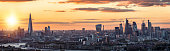 Panorama of the modern skyline of London, United Kingdom, during sunset