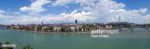 Panorama of the rhine river in Basel, Switzerland