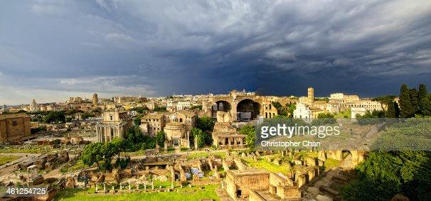 Panorama of the Roman Forum in Rome