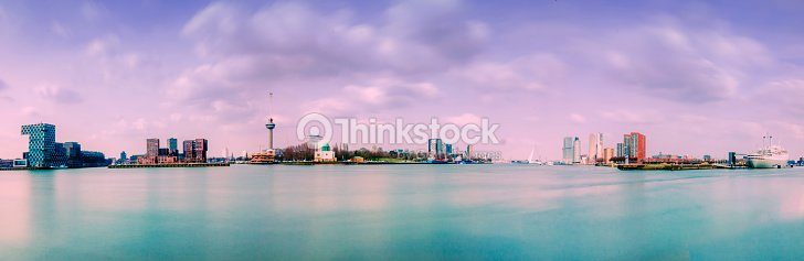 panorama of the rotterdam skyline stock photo   thinkstock