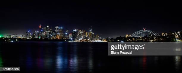 Panorama of the Sydney Harbour at night