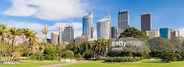 Panorama of the Sydney skyline and Royal Botanic Gardens