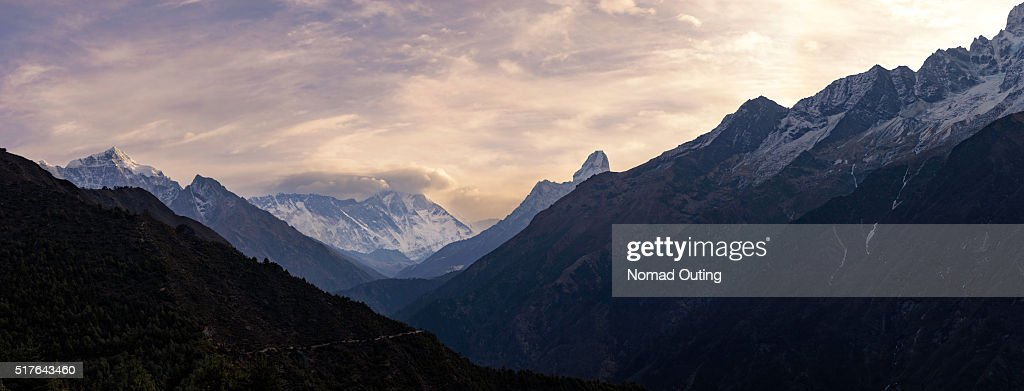 Panorama of the top of Himalayan mountain range with sunrise.