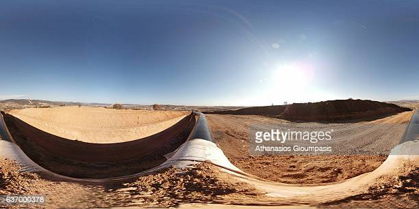Panorama of Trans Adriatic Pipeline construction site in Alexandroupoli near the village of Amphitrite on December 25 2016 in Alexandroupoli Greece...