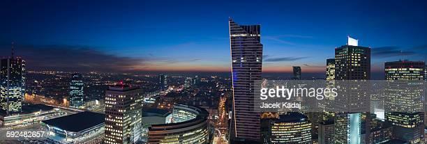 Panorama of Warsaw during the night