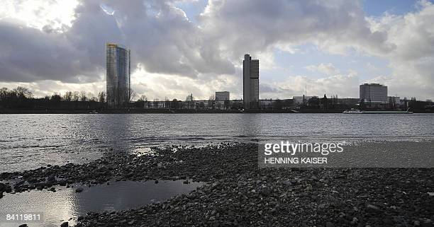 Panorama picture from December 19 2008 shows the banks of the river rhine in the western German city of Bonn AFP PHOTO DDP / HENNING KAISER GERMANY...
