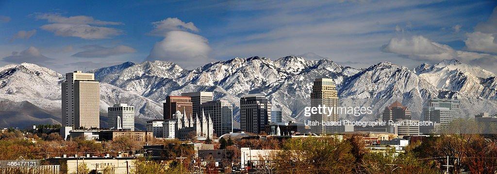 Panorama Shot of Downtown Salt Lake City Utah