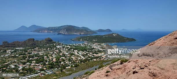Panorama view of Aeolian Archipelago from Vulcano