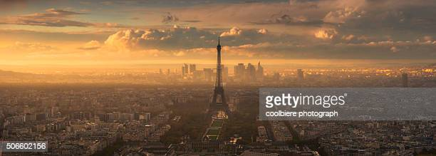 Panorama view of eiffel tower at sunset