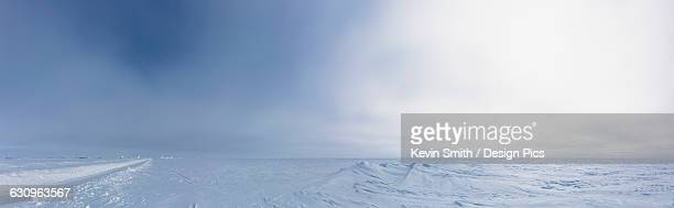 Panorama view of frozen sea ice on an overcast day, Barrow, North Slope, Arctic Alaska, Winter