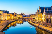 Panorama view of Ghent canal in Belgium.