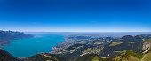 Panorama  view of Lake Geneva and Montreux city from the view platform on Rochers-de-Naye, on a sunny summer day in canton of Vaud, Switzerland.