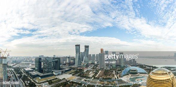 Panorama View of Qianjiang New Town (New CBD district), Hangzhou,Zhejiang,China : Stock Photo