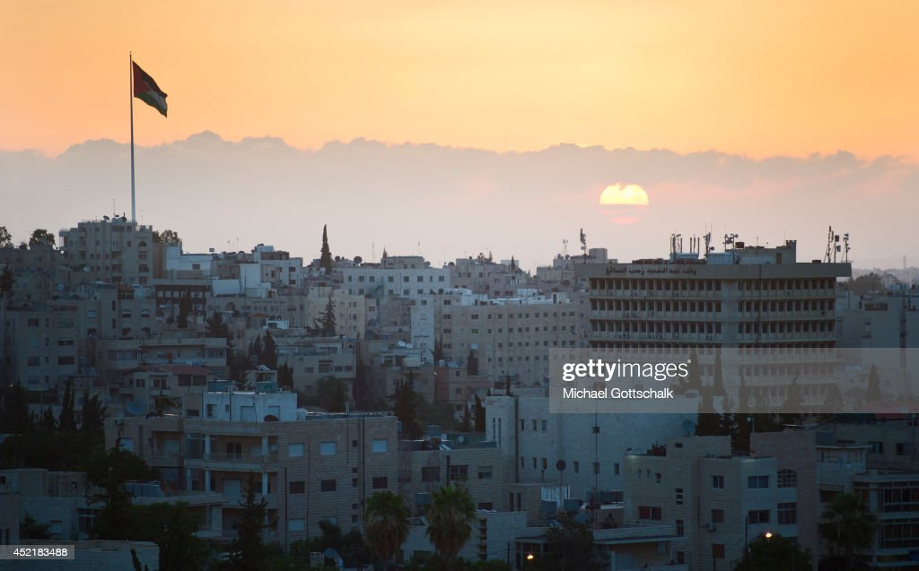 Panorama View of the city of Amman with the blue mosque during sunrise on July 14 2014 in Amman Jordan German Foreign Minister FrankWalter Steinmeier...