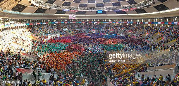 Panorama view of the Concurs de Castells in Tarragona a biannual championship where all human castle groups compete in one weekend Saturday October...