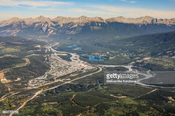 Panorama view of the town of Jasper and the sorrounding mountainous terrain