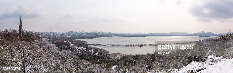 Panorama View of the West Lake in snow,Hangzhou,Zhejiang,China : Stock Photo