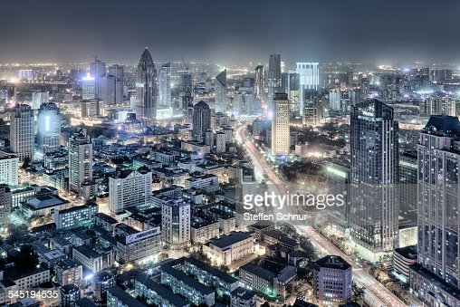Panorama view of Tianjin China cityscape skyline
