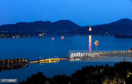 Panorama view of west lake Hangzhou China in night