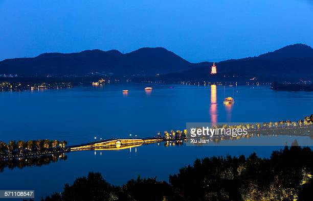 Panorama view of west lake Hangzhou China in night
