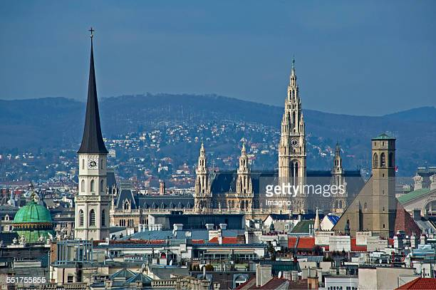 Panorama view over Vienna St Michael's ChurchTown hall and Minorites Church 2015 Photograph by Gerhard Trumler