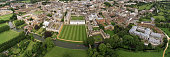 Panoramic Aerial landscapes of the famous Cambridge University, King's College, United Kingdom