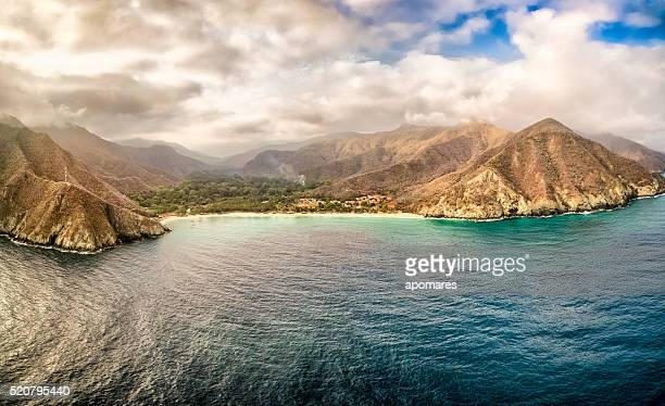 Panoramic aerial view of Chuao bay, Caribbean Sea Venezuela