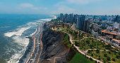 Panoramic aerial view of Miraflores town in Lima, Peru