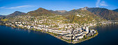 Panoramic Aerial view of Montreux waterfront, Switzerland
