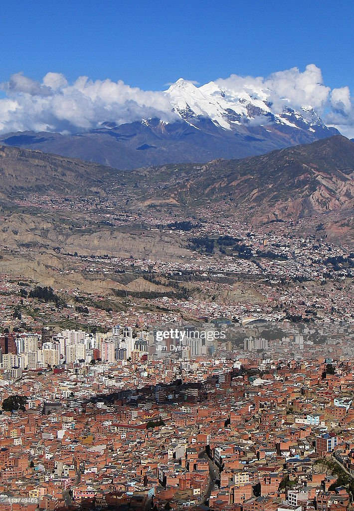 A panoramic aerial view of the Bolivian capital city of La Paz on March 26 2005 in La Paz Bolivia Set high in the Andes at an elevation of more than...