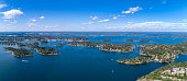 Aerial view over Stockholm archipelago, panorama of two pictures.