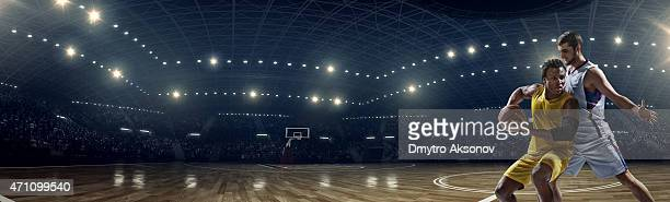 Panoramic basketball game moment