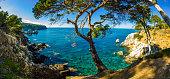 Panoramic view from Cala Deia  breathtaking mediterranean tropic empty beach 30 km from Palma de Mallorca