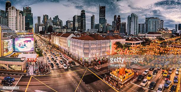 Panoramic China Town cityscape in Singapore