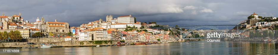Panoramic - city of Porto and the Douro River : Stock Photo